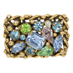 Barclay Gold Jewels of India Collection Pin Brooch, Aquamarine, Peridot Crystal
