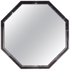 Davidson's Modern, Hexagonal Barclay Mirror, Sycamore Black and Polished Nickel