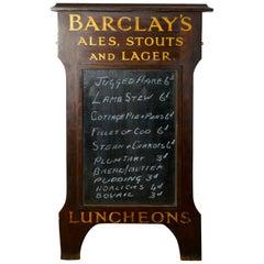 Barclay's Brewery Oak Hotel Black Board or Menu Board