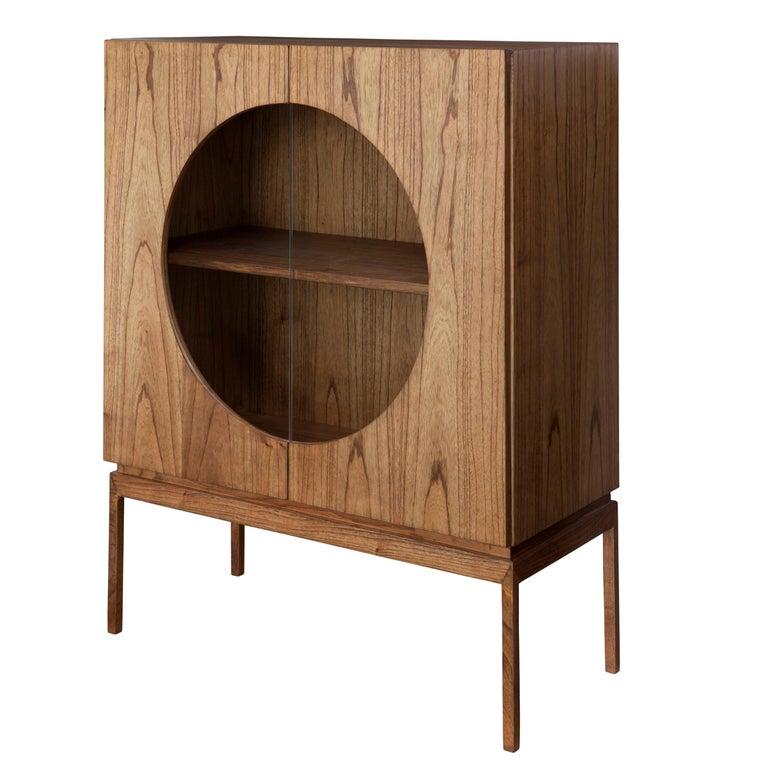 """Bardi"" Modernist Bar in Cinamomo Laminated Natural Wood For Sale"