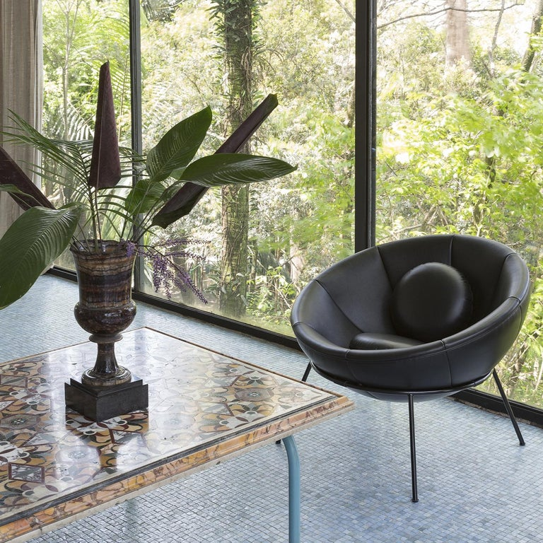 Italian Bardi's Bowl Chair Black Leather For Sale
