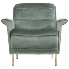 Bardot Armchair in Ash Green Velvet