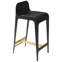 Bardot Counterstool with Leather Seat and Satin Brass Hardware by Gabriel Scott
