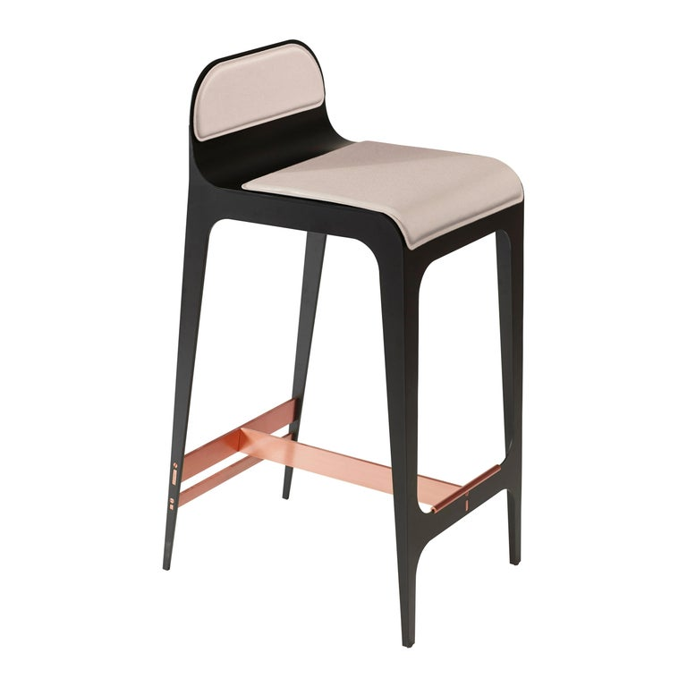 For Sale: Pink (Nude Pink) Bardot Counterstool with Leather Seat and Satin Copper Hardware by Gabriel Scott
