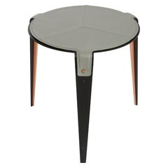 Bardot Side Table with Black Steel Legs with Grey Leather, Satin Brass Hardware