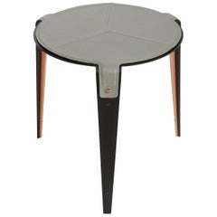 Bardot Side Table with Leather Top and Satin Copper Hardware by Gabriel Scott
