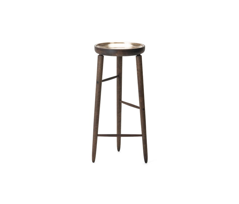 Canadian Baré Tall Plant Stand, Walnut Wood Base with Cast Bronze Dish For Sale