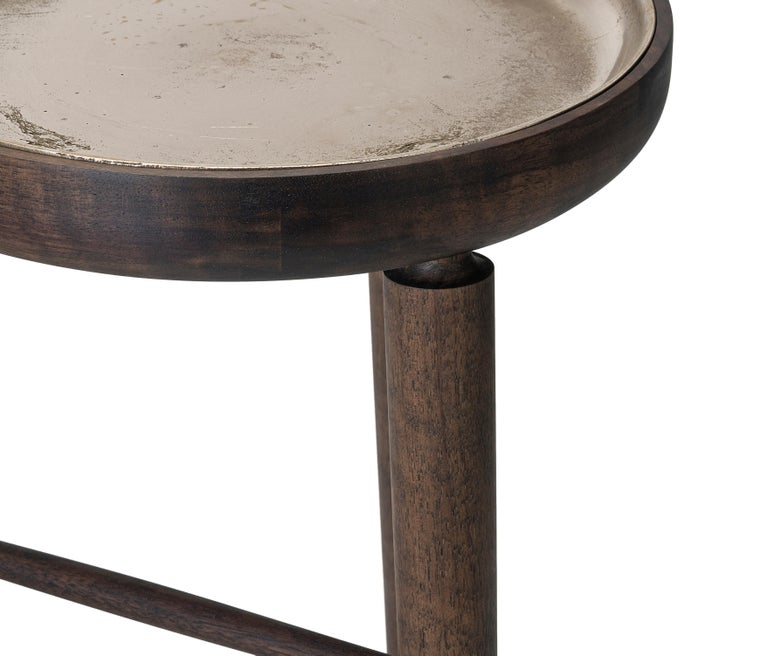 Baré Tall Plant Stand, Walnut Wood Base with Cast Bronze Dish In New Condition For Sale In Toronto, ON