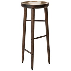 Baré Tall Plant Stand, Walnut Wood Base with Cast Bronze Dish