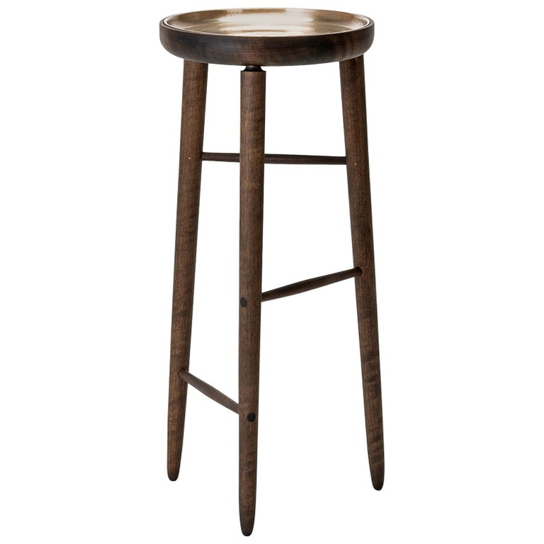 Baré Tall Plant Stand, Walnut Wood Base with Cast Bronze Dish For Sale