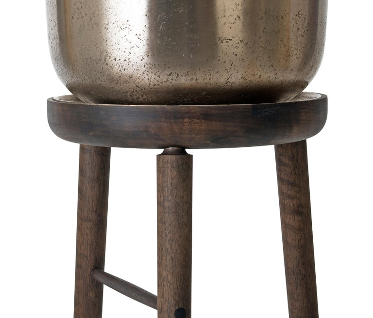 Bar 233 Tall Plant Stand Walnut Wood Base With Cast Bronze