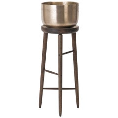 Baré Tall Plant Stand, Walnut Wood Base with Cast Bronze Tray and Planter