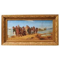 """Barge Haulers on the Volga"" 19th Century Oil Painting, Signed 'U. Piennho'"