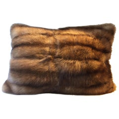 Bargusin Sable Fur Cushion with Hand Embroidered Back in Silver and Oyster