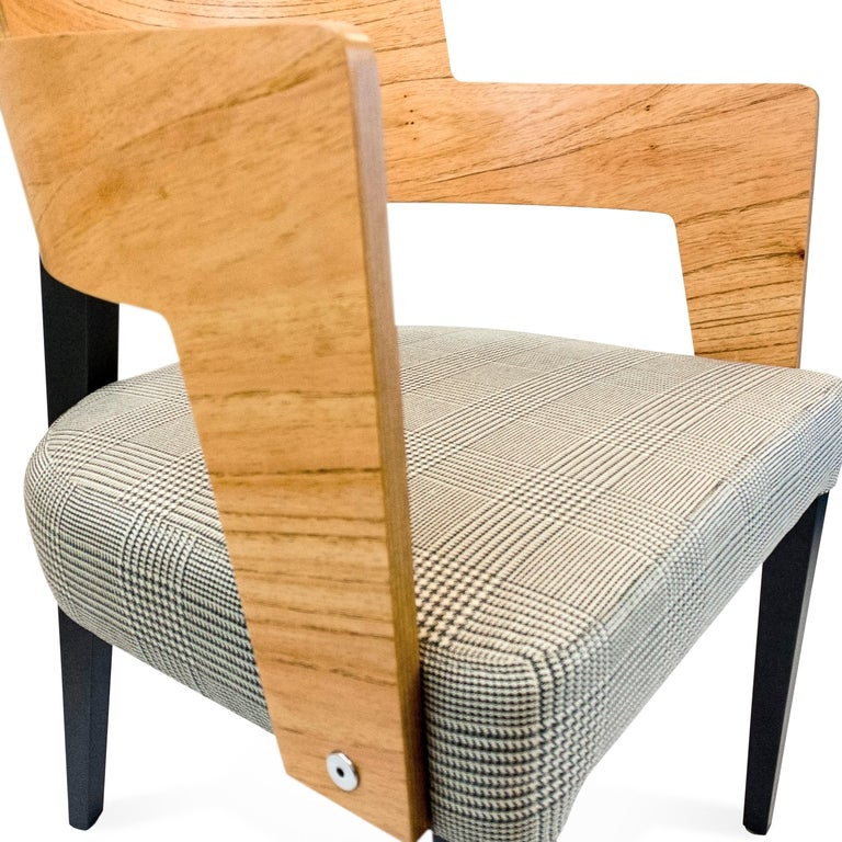 Contemporary Bark Dining Chair Featuring Chinaberry and Graphite-Finished Legs For Sale