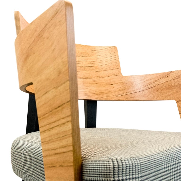 Fabric Bark Dining Chair Featuring Chinaberry and Graphite-Finished Legs For Sale