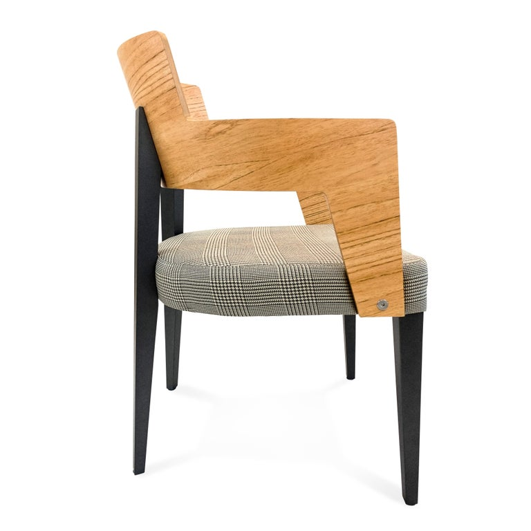 Bark Dining Chair Featuring Chinaberry and Graphite-Finished Legs For Sale 1