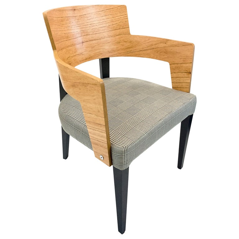 Bark Dining Chair Featuring Chinaberry and Graphite-Finished Legs For Sale