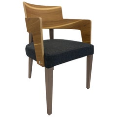 Bark Dining Chair Featuring Teak and Chocolate-Finished Legs with Charcoal Seat