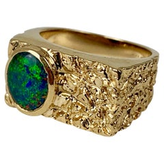 14k Yellow Gold Flat Top Gold Ring with a Bark Finish set with a Doublet Opal