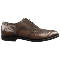BARKER BLACK ARCHDALE Size 10 Taupe Gray Leather Wingtip Brogues