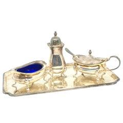 Barker Ellis Silver Plated Condiment Set Vintage, England, 1920s