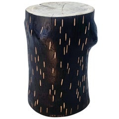 'Barking Up The Wrong Log' charred oak stool with hand carved markings