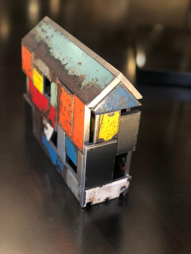 Folk Art Barn House Structure, Welded Steel Decorative Object Made with Salvaged Steel For Sale