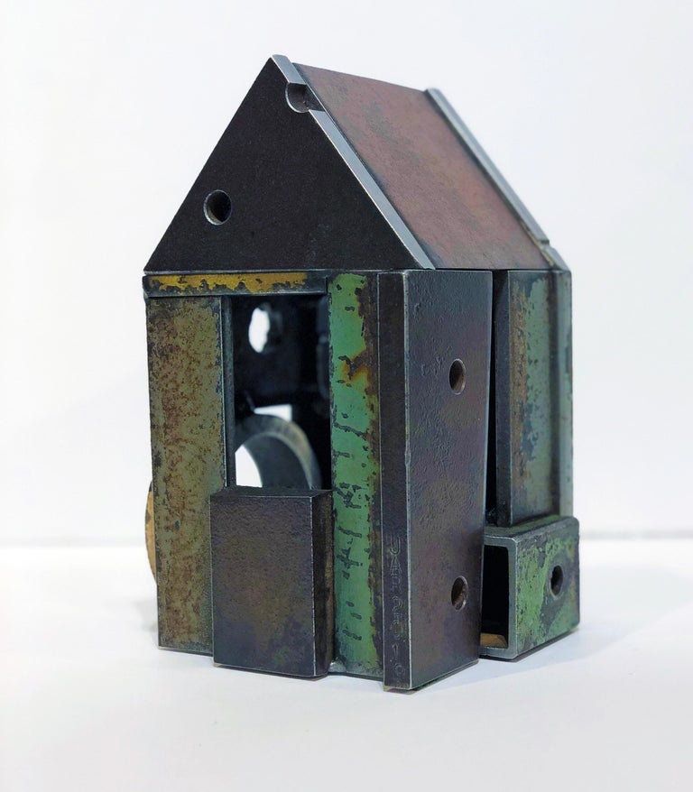 Folk Art Jim Rose Barn House Structure, Welded Steel Object Made with Salvaged Steel For Sale