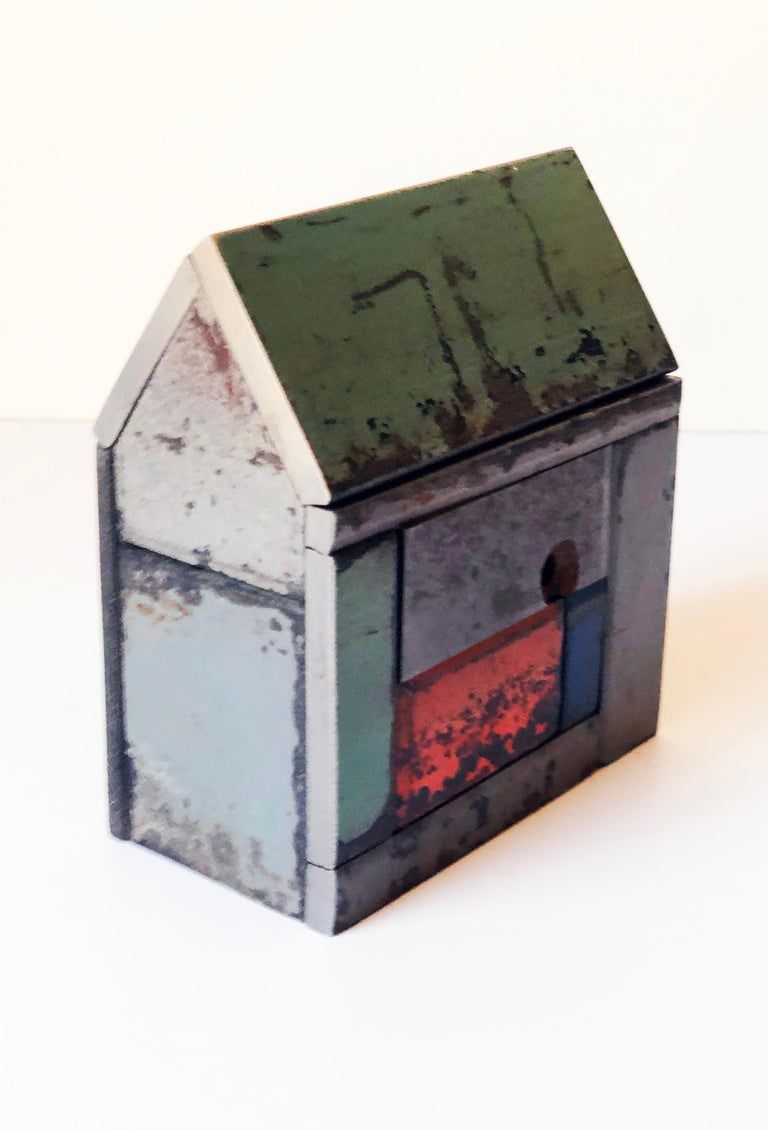 Folk Art Jim Rose Barn House Structure, Welded Steel Sculpture Made with Salvaged Steel For Sale