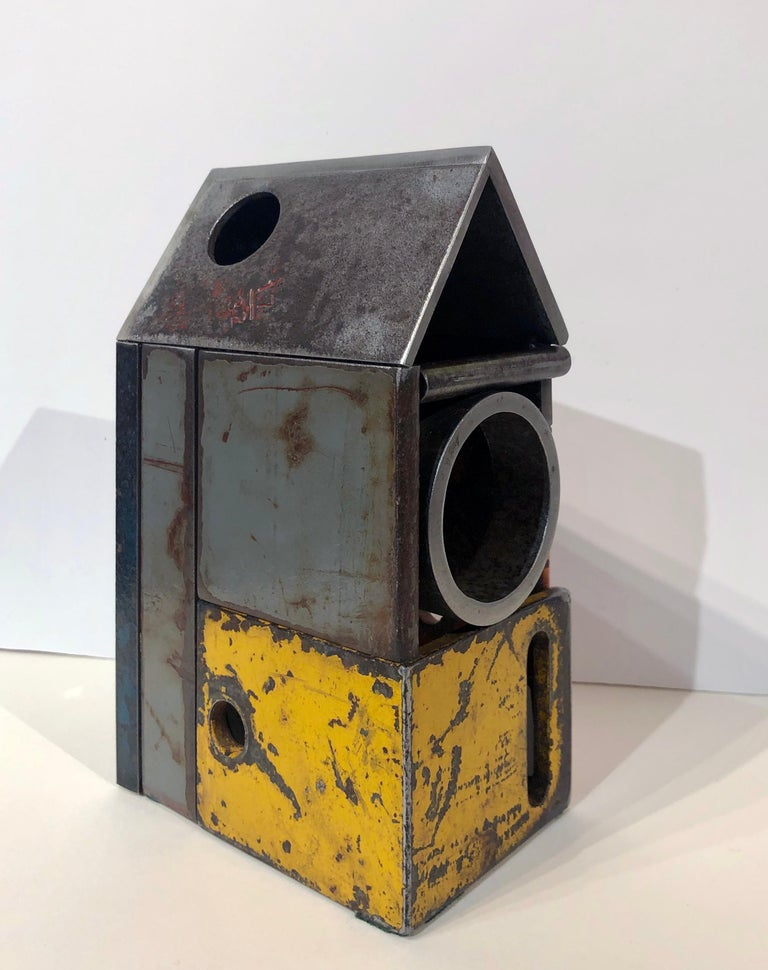 American Barn House Structure, Welded Steel Decorative Object Made with Salvaged Steel For Sale