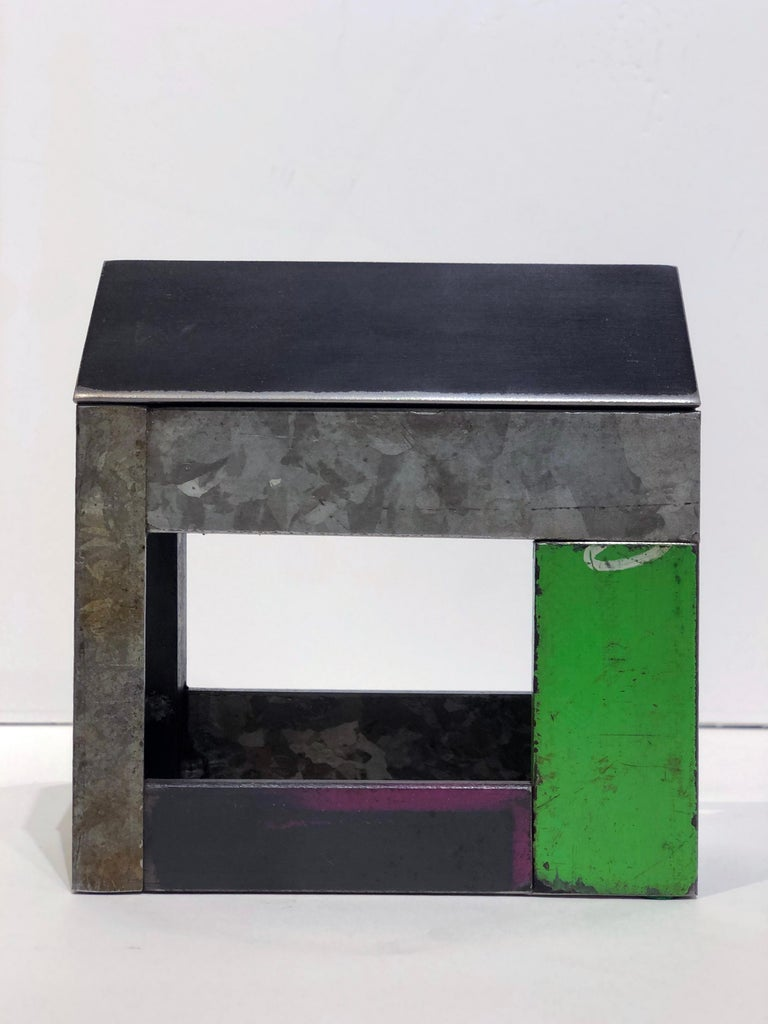 Contemporary Jim Rose Barn House Structure, Welded Steel Object Made with Salvaged Steel For Sale