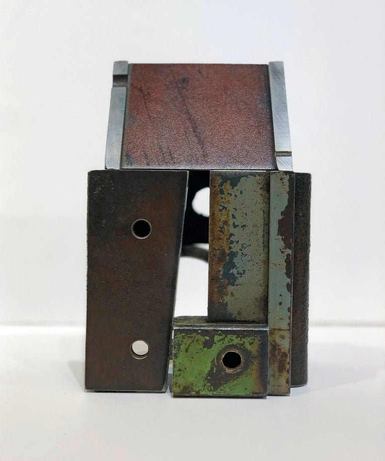 Barn House Structure, Welded Steel Decorative Object Made with Salvaged Steel For Sale 1