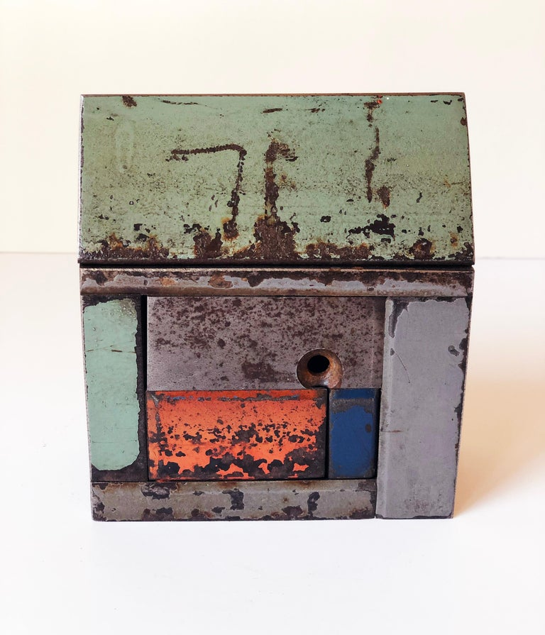 Jim Rose Barn House Structure, Welded Steel Sculpture Made with Salvaged Steel For Sale 1