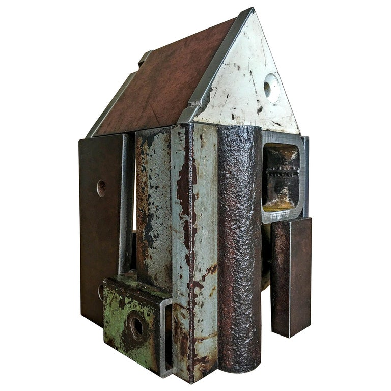 Jim Rose Barn House Structure, Welded Steel Object Made with Salvaged Steel For Sale