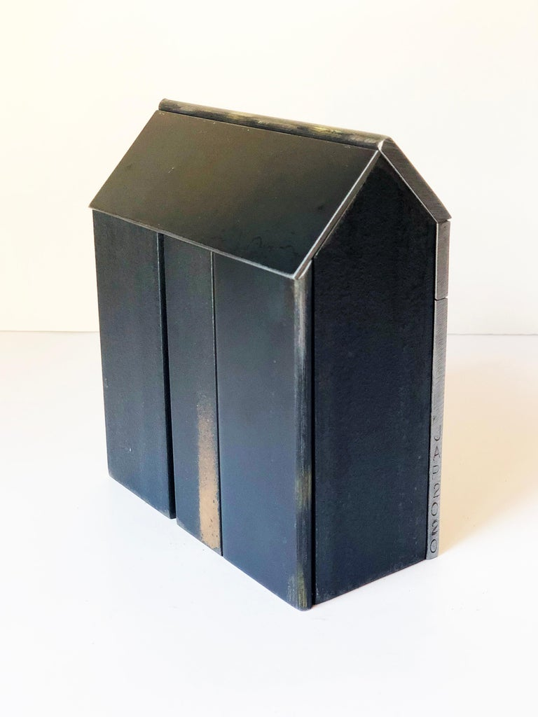 American Jim Rose Barn House Structure, Welded Steel Sculpture Made with Salvaged Steel For Sale