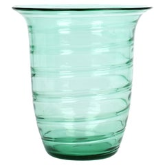 Barnaby Powell For Whitefriars Large Ribbon Trail Green Glass Vase
