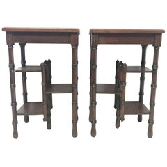 Barnard Bishop & Barnard Sun Flower Tiles, a Pair of Anglo Japanese Side Tables