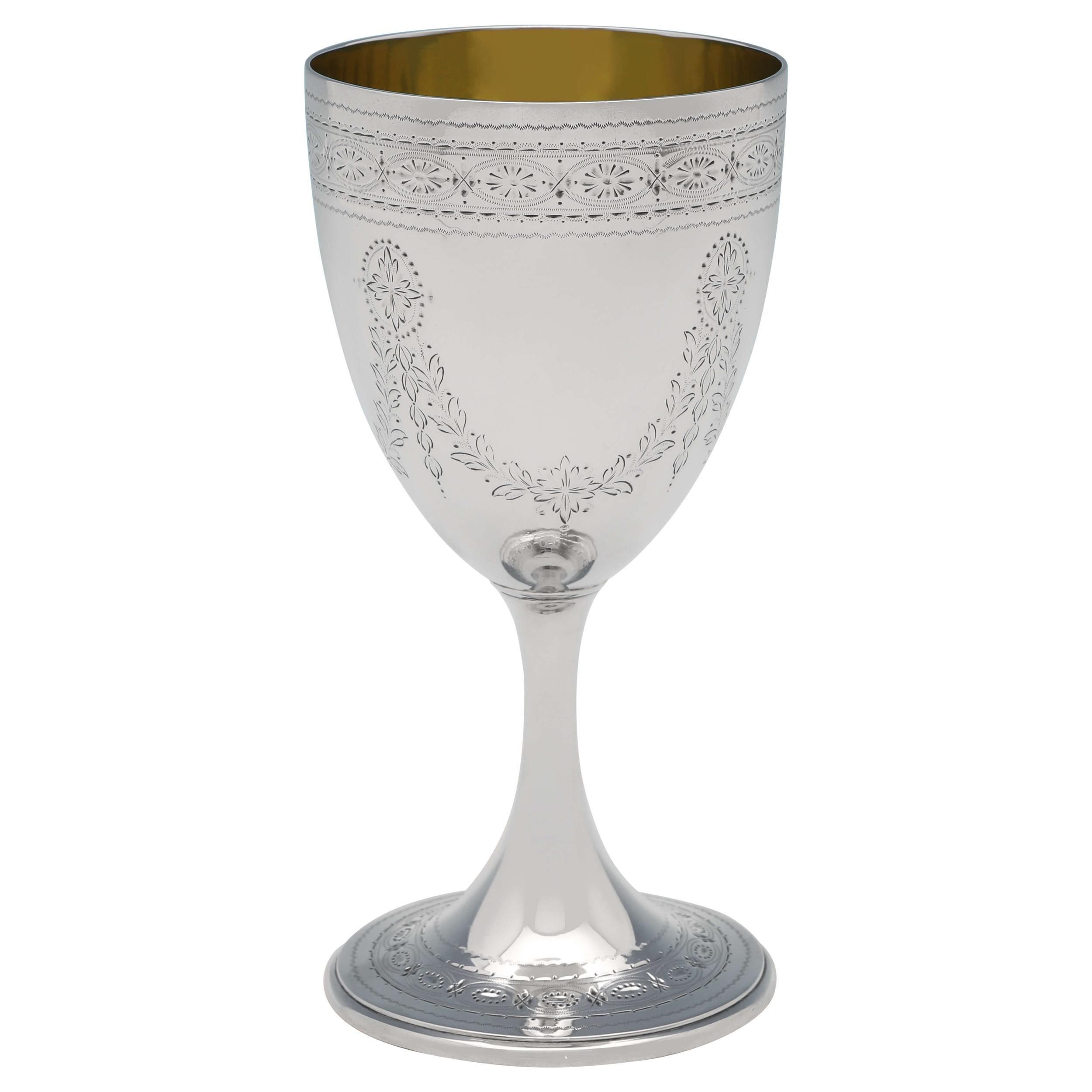 Barnards Victorian Engraved Sterling Silver Goblet, Gilt Interior, 1872