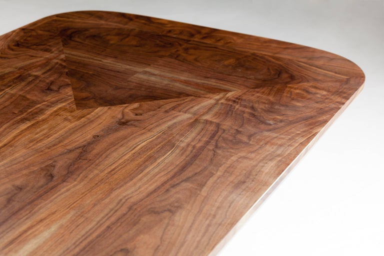Modern Barnet Dining Table, American Hardwood and Steel For Sale