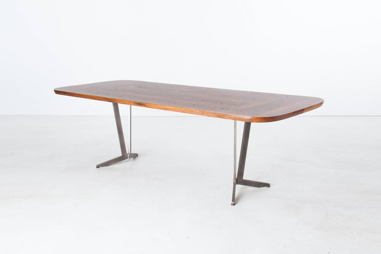 Barnet Dining Table, American Hardwood and Steel In New Condition For Sale In Brooklyn, NY
