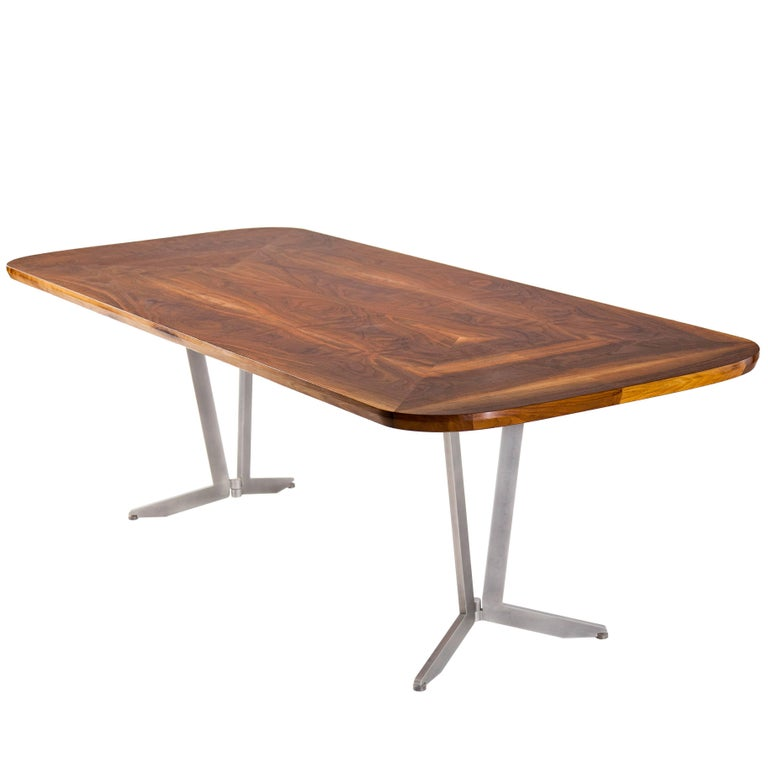 Barnet Dining Table, American Hardwood and Steel