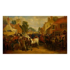 """Barnet Fair"" '1845' Antique English Oil Painting of Horses by Thomas Smythe"