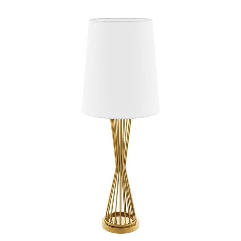 Chinese Barnet Table Lamp in Gold or Nickel Finish For Sale