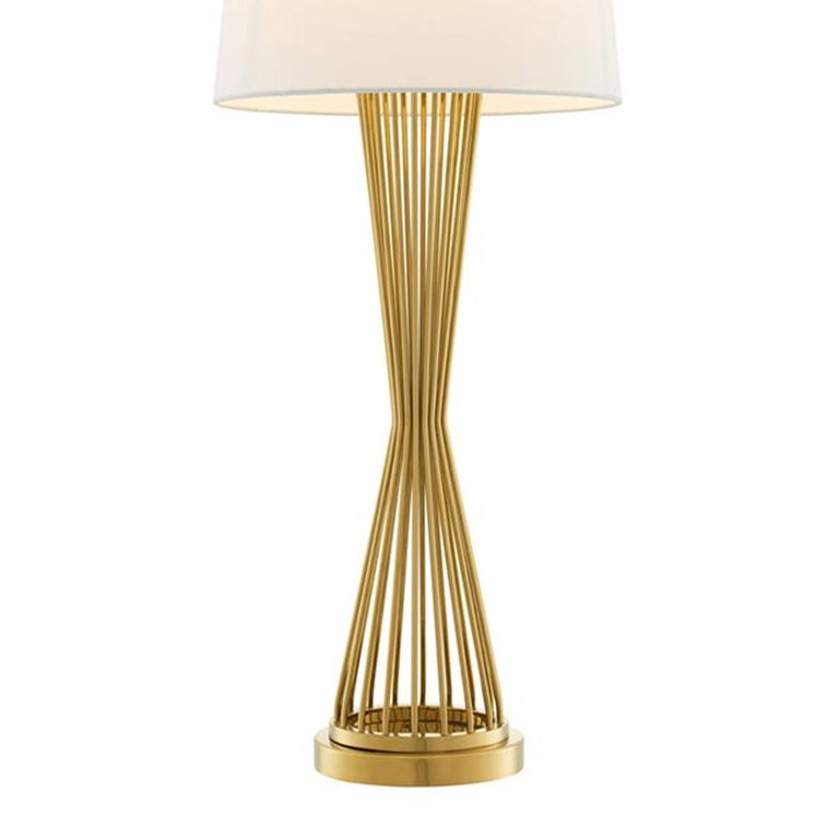 Polished Barnet Table Lamp in Gold or Nickel Finish For Sale