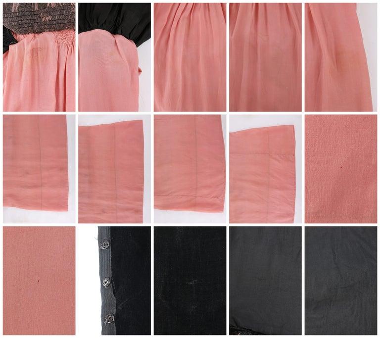 BARNETT c.1910's Rose Pink & Black Silk Velvet Sleeveless Peplum Evening Dress  For Sale 6