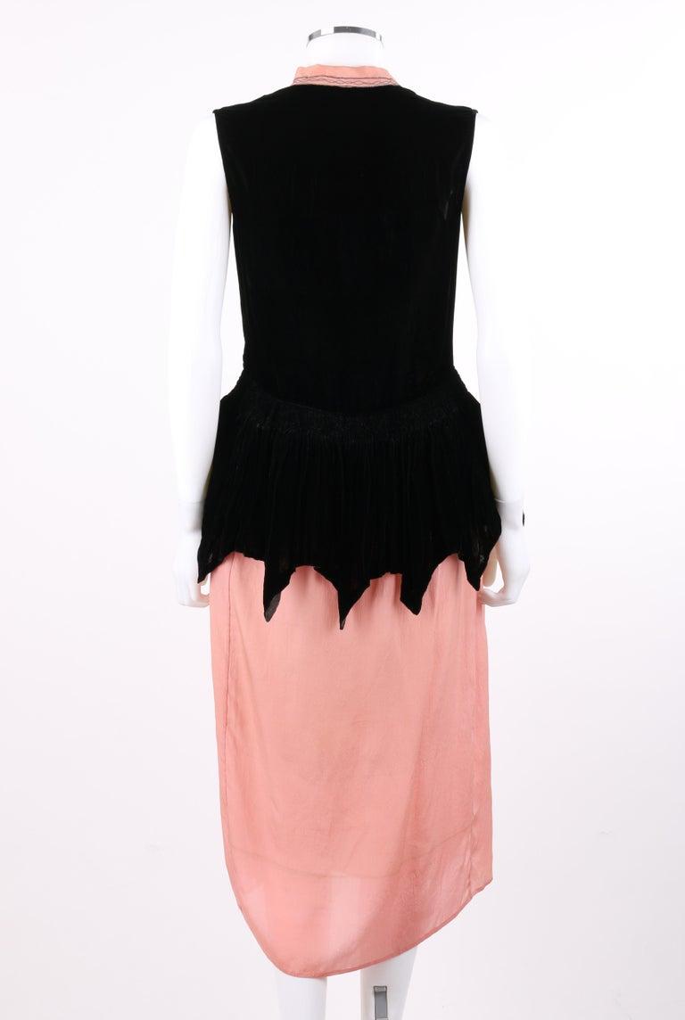 Women's BARNETT c.1910's Rose Pink & Black Silk Velvet Sleeveless Peplum Evening Dress  For Sale