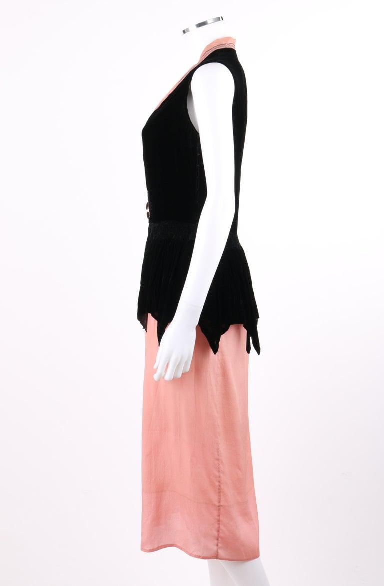BARNETT c.1910's Rose Pink & Black Silk Velvet Sleeveless Peplum Evening Dress  For Sale 1