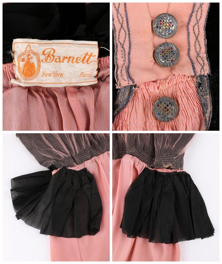 BARNETT c.1910's Rose Pink & Black Silk Velvet Sleeveless Peplum Evening Dress  For Sale 4