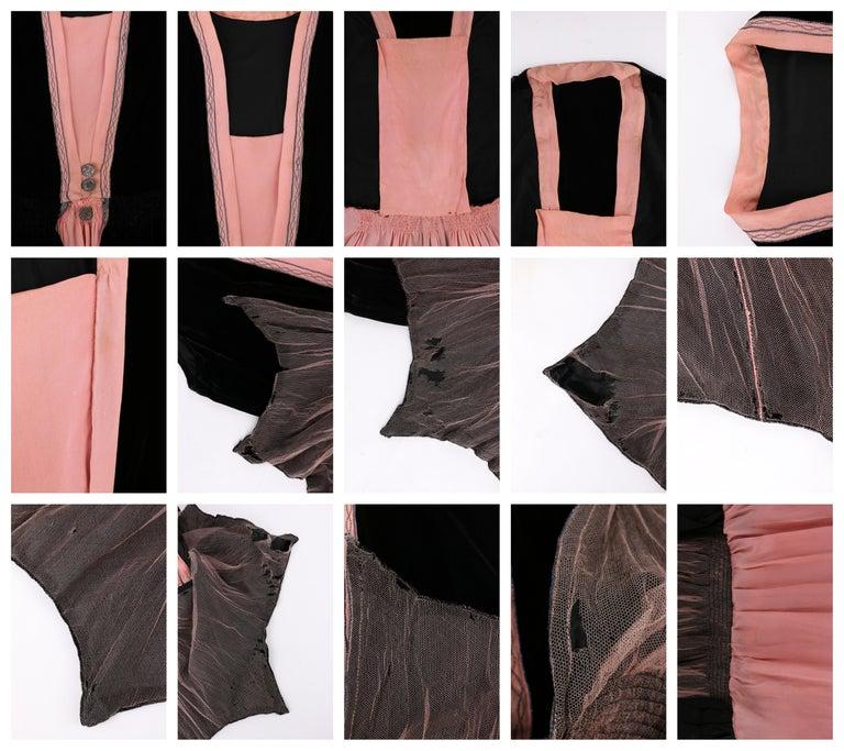 BARNETT c.1910's Rose Pink & Black Silk Velvet Sleeveless Peplum Evening Dress  For Sale 5